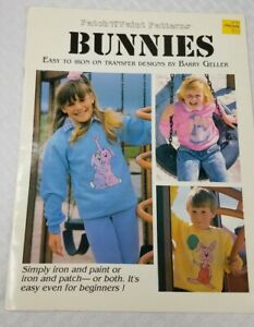 1989 BUNNIES Patch 'N' Paint Patterns Iron on Transfer Design book Barry Geller