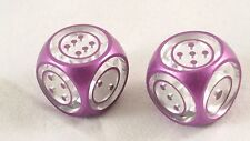 Aluminum Dice - Precision Machined - Floating Style - Purple Inverse - One Pair