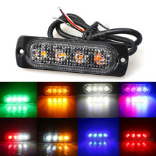 4LED Strobe Warning Flash Traffic Beacon Light Blue Amber White Red Green 12V-36