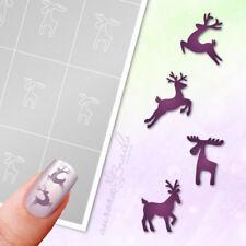 Schablonen Airbrush und Nailart klebe WS10 Winter Weihnacht Rentier Reh Rudolf