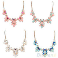 GN- Womens Crystal Resin Flower Statement Bib Chain Choker Necklace Pendant Hot