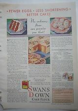 1931 Swans Down Flour Red Devils Food Orange Tea Plantation Marble Cake Ad
