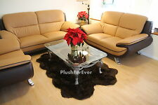 4'x6' Brown Faux Fur Rug Quad Sheepskin Rug pelts Cottage Shaggy Carpet Rugs New