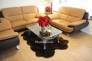 4'x6' Brown Faux Fur Rug Quad Sheepskin Rug pelts Cottage Shaggy Carpet Rugs New