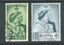 Malta KGVI 1949 Royal Silver Wedding SG249/50 used