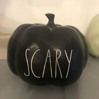 NEW NWT Rae Dunn Halloween Med Black Pumpkin SCARY HTF Matte LL Large Letters