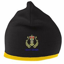 Navy Diver Beanie Hat with Embroidered Logo