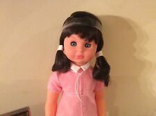 VINTAGE SEBINO LA BAMBOLA ITALY DOLL - BLUE EYES, EYELASHES, BRUNETTE PNK DRESS