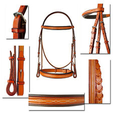"""Authentic Edgewood Bridle 1"""" Fancy Stitched Padded Raised Matching Reins COB"""