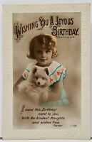 Birthday Greeting RPPC Sweet Girl Adorable Puppy Hand Colored c1915 Postcard H15