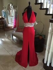 $549 NWT RED HALTER SHERRI HILL PROM/PAGEANT/FORMAL DRESS/GOWN CB211282 SIZE 8