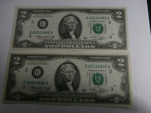2-$2.00 1976 C Notes #100 Apart , Uncirculated