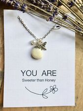 Tibetan Silver Bee with Beach Pebble and Faux Pearls Pendant Necklace (NEW)