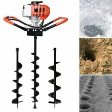 52cc Gas Powered Earth Auger Post Hole Digger Borer Fence Ground With Drill Bits