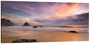 Rocky Beach Sunset Panorama Canvas Wall Art Picture