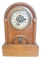Rare Victorian Walnut Dome Top Cottage Clock Asymmetrical Dial