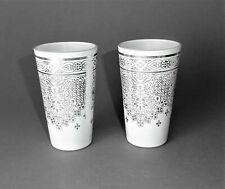 2 x Clayre & Eef Deko Glas Vase modern weiß silber