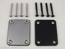 NECK PLATE & SCREWS for Electric Guitars Strat Tele Les Paul CHROME or BLACK