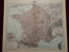 France Map, Paris, Marseille, Toulouse, Nantes, Brest, Otto herkt 1905