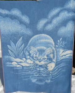 Biederlack Blanket Cat Kitten Reflection Pond Large Throw Blue Vintage 58x77 Vtg