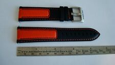 Louis Chevrolet 22mm Premium Leather strap band in Orange & Black. BRAND NEW.