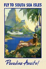 1940s Fly to the South Sea Isles Tropical Vintage Style Travel Poster - 20x30