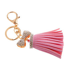 Pretty Crystal Diamante Bownot Pink Tassel Charm Key Ring Key Chain Gifts