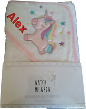 Personalised Embroidered Baby Hooded Towel, gift, any text, white, unicorn
