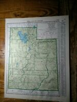 1943 Map of Utah - Map of Vermont On Back - Railroads Shown & Labeled