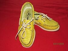Women's Sperry Top Sider Yellow Leather/Snakeskin Boat Shoes Size 6M