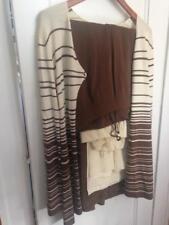 Jones New York Beautiful 4Pc Sweater-Set Pant Suit Size 6 Cream & Brown