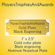 "1"" x 2 1/2"" Perpetual Name Plate Gold - Black engraving 2.5 x 1 "" Aluminum 1x2.5"