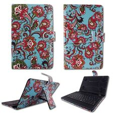 For RCA 7″ Voyager II  Teal Paisley KickStand Micro USB Keyboard Case Cover