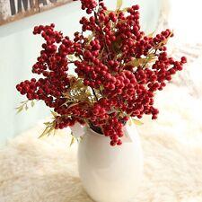 1 Bouquet Artificial Fruit Christmas Berry Flower Bean Red Cherry Wedding Decor