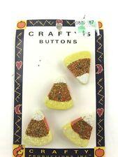 Lot of 5 handpainted Wooden Glitter Candy Corn Button accent craft scrapbook