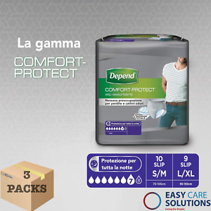 Depend Comfort Protect for Men S/M - 3 Packs of 10 Incontinence Pants - Total 30