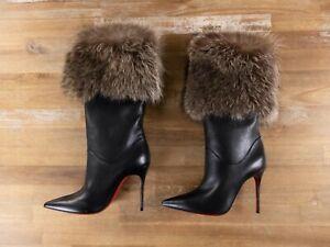 $2495 CHRISTIAN LOUBOUTIN Canichissima 100 black leather fur boots 7 US / 37 EU