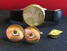 Vtg Boomi Cuff Links, Pin and Numbered Watch 73/500 Gold Tone