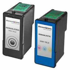 2pk Lexmark 36XL 37XL BLACK & COLOR HY Ink Cartridge for X3650 X4650 X5650 36 37