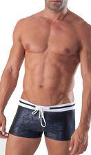 Geronimo hombre Bañador Negro Gris Corte Cuadrado Calzoncillos Boxers Brillante