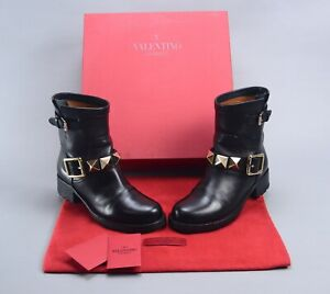 $1195 VALENTINO GARAVANI ROCKSTUD Black Leather Moto Boots EU36 US6