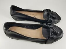 F&F size 6 (39) black faux leather pumps ballet flats slip on tasselled loafers
