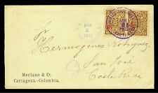 COLOMBIA 1902 Civil War & Inflation period cover from CARTAGENA to COSTA RICA