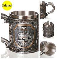 Warrior Viking Cup 3D Beer Mug Tankard Stainless Steel Home Bar Drink Gift Men