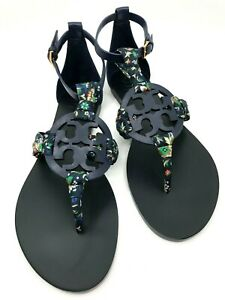 Tory Burch NEW Miller Royal Navy Blue Satin Scarf Sandals $248 7 8.5 10.5