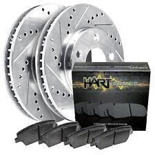 Fit 2004-2005 Mazda 3 Rear HartBrakes Drill Slot Brake Rotors+Semi-Met Brake Pad