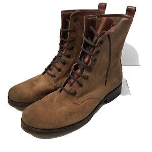 Frye Women's Veronica Combat Brown Suede Boots Size 9.5B US MSRP $278