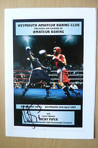 2009 NICKY PIPER Hand Signed Boxing Dinner Menu -Weymouth Amateur at Rembrandt
