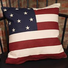"""Americana 16"""" Flag Pillow Cover Primitive Unfilled"""