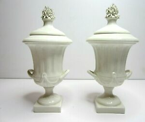 Antique White Porcelain Urn Vase Ginger Jars With Lids Covers Mottahedeh Italy